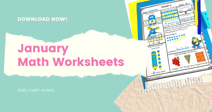 Daily Math Worksheets Spiral Review in January And A Freebie