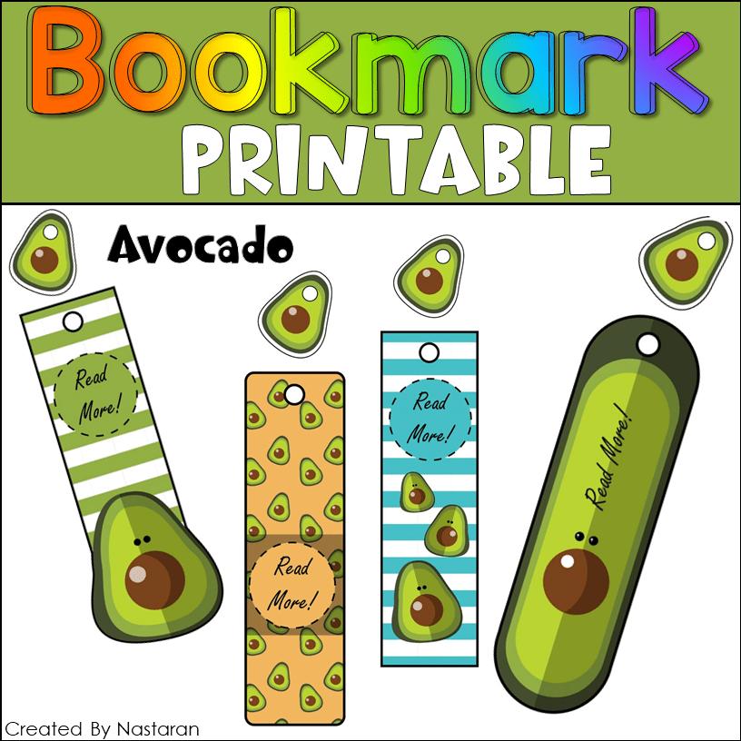Printable Bookmark Avocados