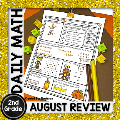 2nd Grade Back To School Daily Math Worksheets And a Freebie