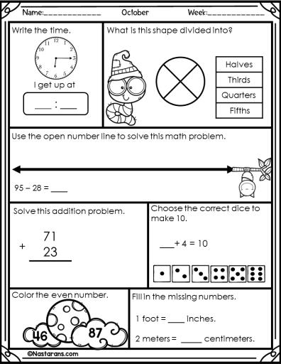 Free 2nd Grade Halloween Math Daily Review Worksheet