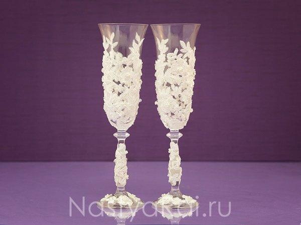 Свадебные бокалы с кружевом. Айвори