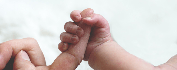 baby adult fingers holding trimmed 1024x407 Why is touch important in babies?