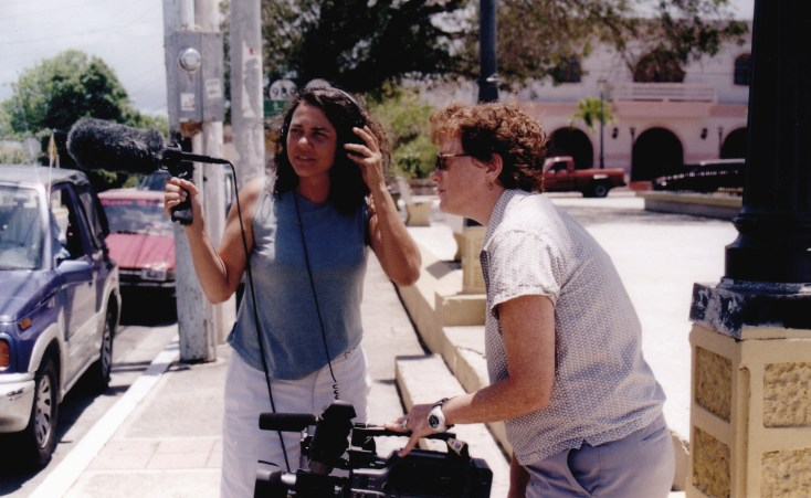 "Mary Patierno and I worked on the documentary, ""Vieques: Worth Every Bit of Struggle"" through the late 1990s and early 2000s. Here we are capturing b-roll at the plaza."
