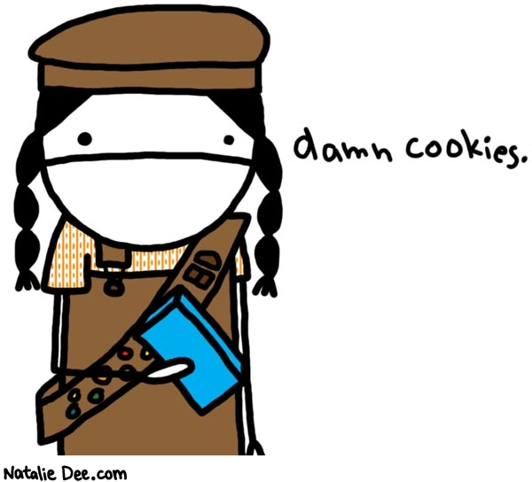 Annoyed Cookie Selling Girl Scout