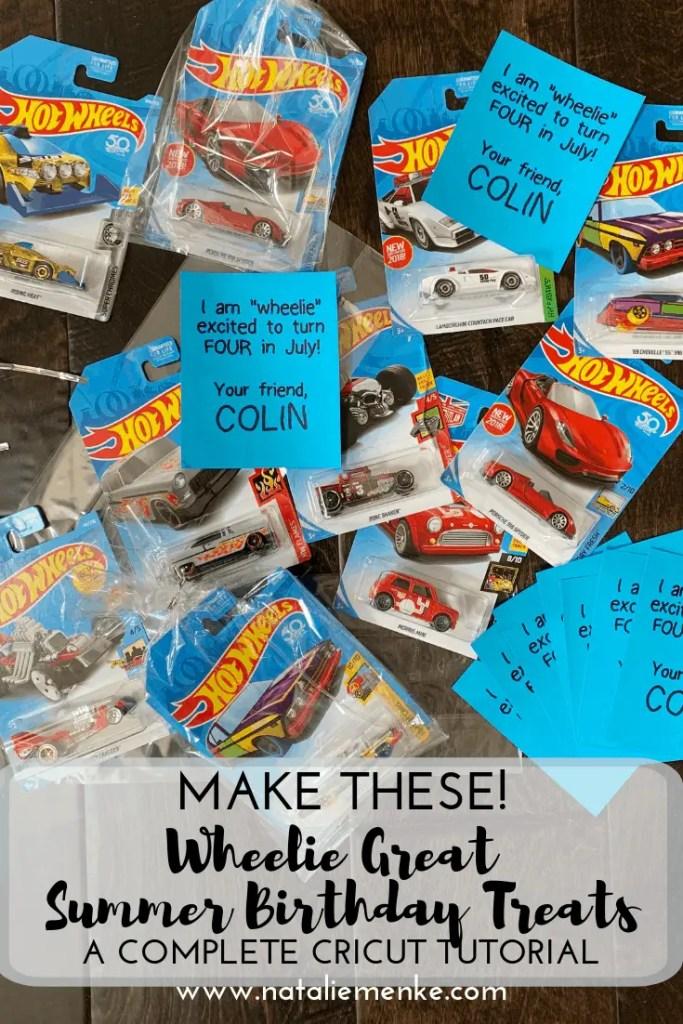 "Make these ""Wheelie"" Great Summer Birthday Treats using the Cricut tutorial at www.nataliemenke.com"