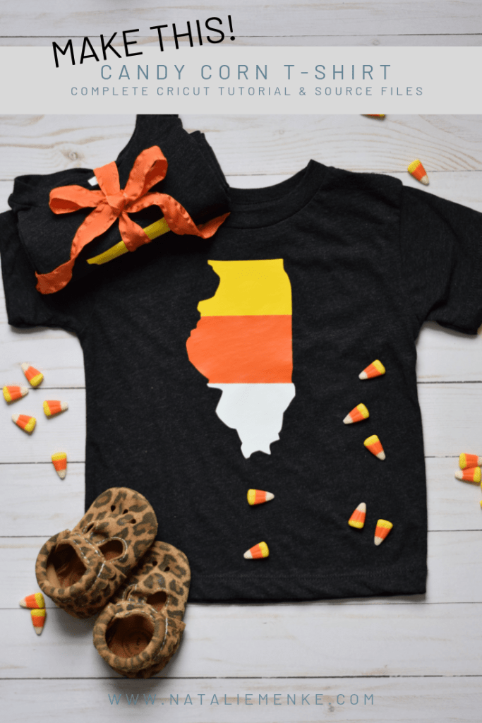 This State of Illinois Silhouette Candy Corn T-shirt is the perfect gift for any Fall occasion. Find this Candy Corn T-shirt tutorial to make your own at www.nataliemenke.com