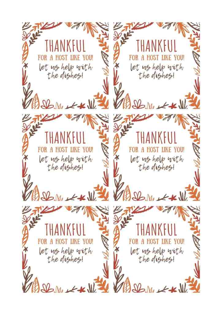 Free Thanksgiving Paper Plate Hostess Gift printable gift tag download available at www.nataliemenke.com