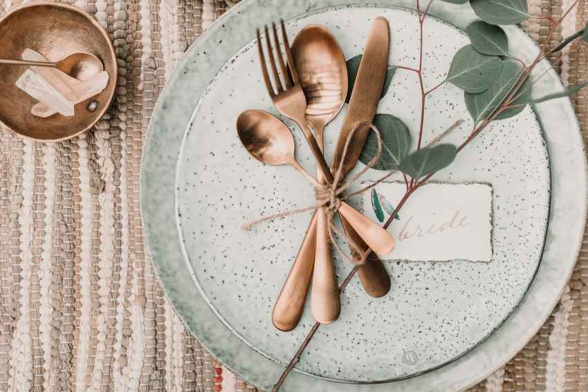 Brushed copper table details and rustic settings. Blush and green Bohemian Wedding Inspiration bringing a little California to you where ever you are in the world. Relaxed styling and desert inspiration and vibes. Wedding ideas for boho brides who an effortlessly relaxed, bohemian wedding. Shot by Natalie Pluck Photography. See full blog post for credits and more inspiration here http://www.nataliepluck.com/bohemian-wedding-inspiration/ 