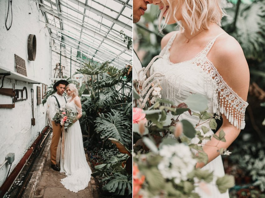 Rad wedding dresses for badass brides. (Shikoba Bride) Blush and green Bohemian Wedding Inspiration bringing a little California to you where ever you are in the world. Relaxed styling and desert inspiration and vibes. Wedding ideas for boho brides who an effortlessly relaxed, bohemian wedding. Shot by Natalie Pluck Photography. See full blog post for credits and more inspiration here http://www.nataliepluck.com/bohemian-wedding-inspiration/ 