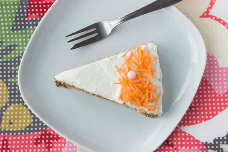 Easy Carrot Cake with Cottage Cheese Frosting made with all HEALTHY ingredients, refined sugar-free and low-calorie. Perfect Easter spring dessert. NATALIESHEALTH.COM #nosugar #lowcalorie #cake #dessert #Easter #healthy