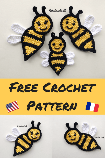 Free Crochet Pattern Appliques Bee Family Of Bees