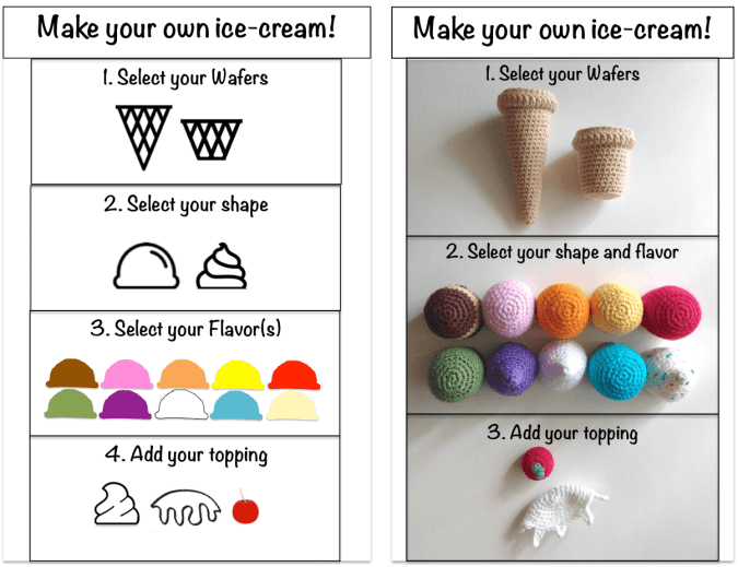 Free crochet pattern: Make your own ice-cream game. Patron gratuit