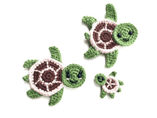 Free Crochet Pattern Sea Turtles Family Appliques Tortues De Mer Custom Free Sea Turtle Crochet Pattern