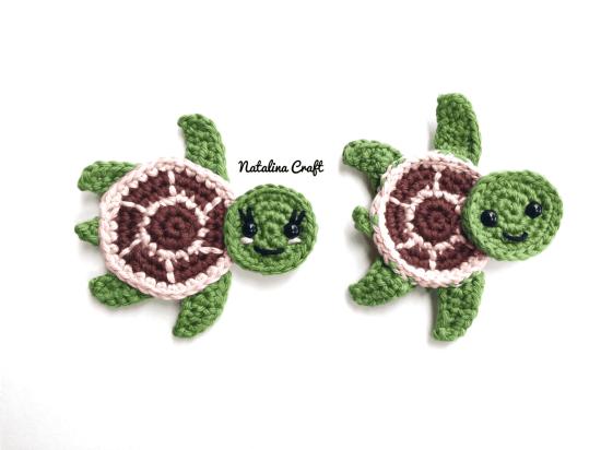 Free Crochet Pattern Sea Turtles Family Appliques Tortues De Mer Beauteous Free Sea Turtle Crochet Pattern