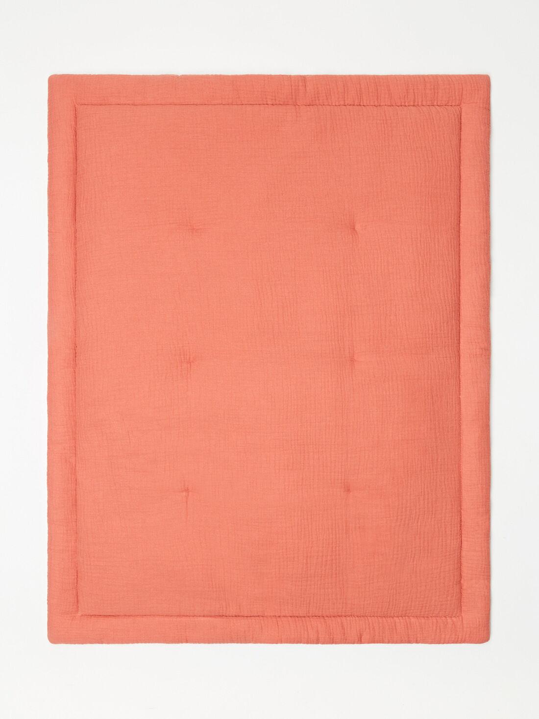 tapis d eveil terracotta en gaze de coton mixte