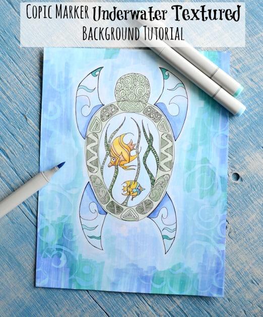 Copic Marker Underwater Textured Background Tutorial The
