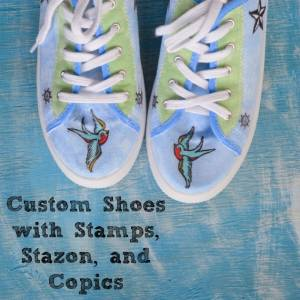 Custom Shoes with Stamps, Stazon, and Copic Markers