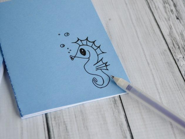 DIY cute seahorse notebook