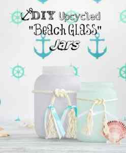"DIY Upcycled Frosted ""Sea Glass"" Beachy Jars"