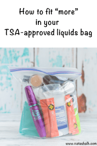 How to fit more in your TSA-approved liquids bag. These tips will help you make the most of your carry-on liquids allowance so you can avoid a checked bag and save money! #traveltips #protraveler