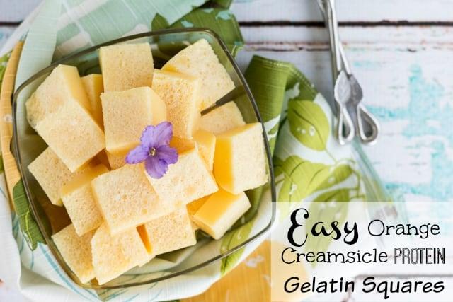 Easy Orange Creamsicle Protein Gelatin Squares