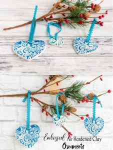 embossed air hardened clay ornaments tutorial
