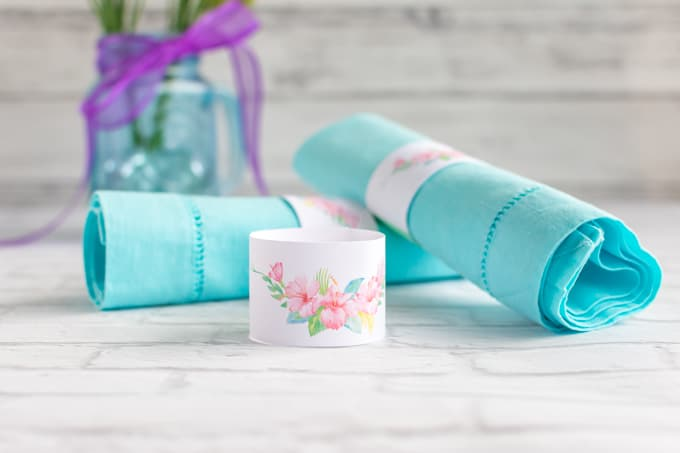 DIY wedding floral paper napkin ring printable