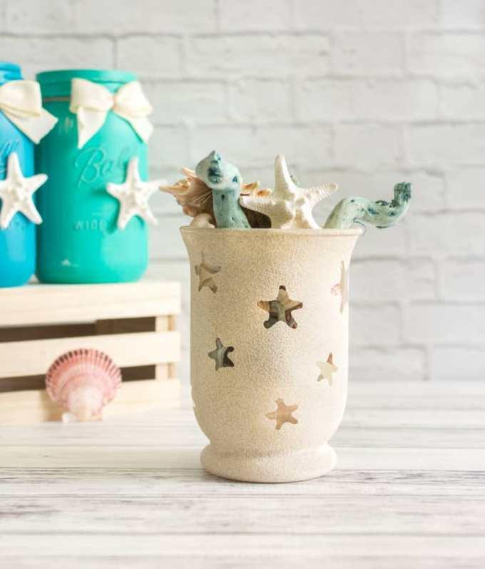 diy sandy texture summer beach vase
