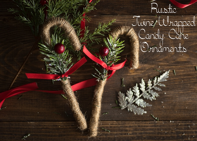 rustic twine wrapped candy cane ornaments
