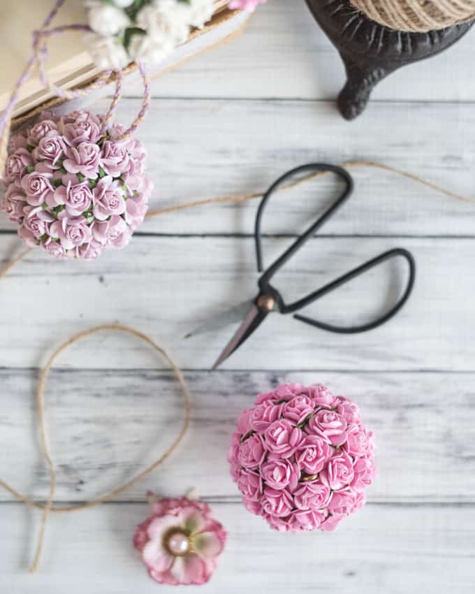 paper flower kissing ball with mulberry flowers