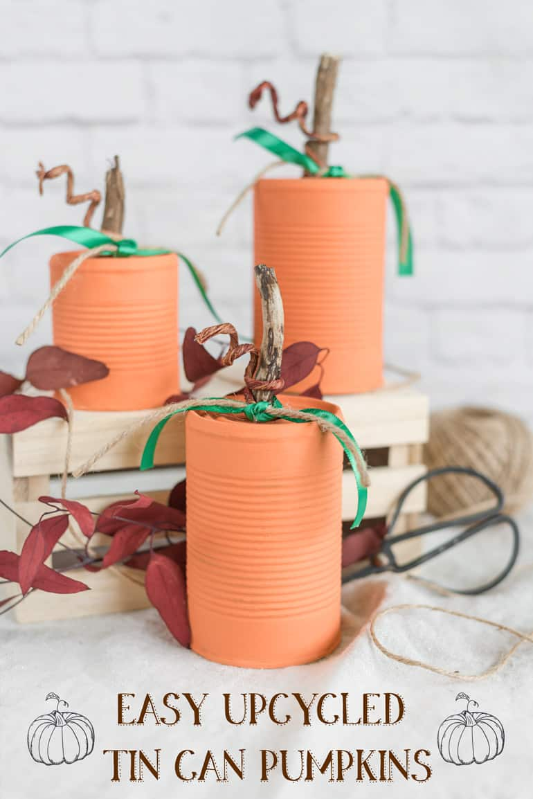 Upcycled Can Pumpkins – Recycled Tin Can Pumpkin Tutorial