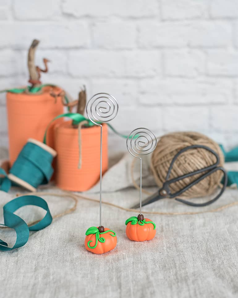 polymer clay pumpkin name card holders