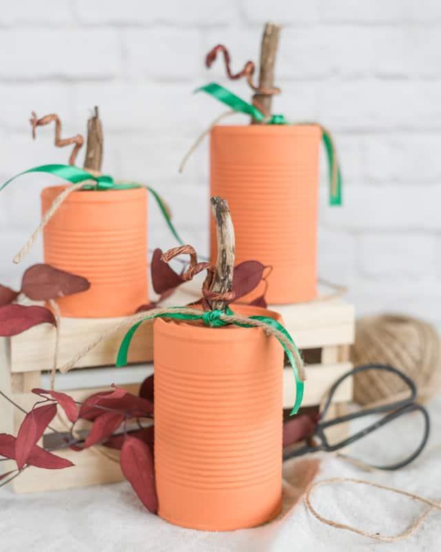 recycled tin can pumpkins