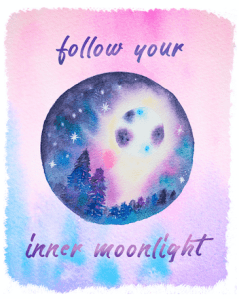follow your inner moonlight watercolor printable