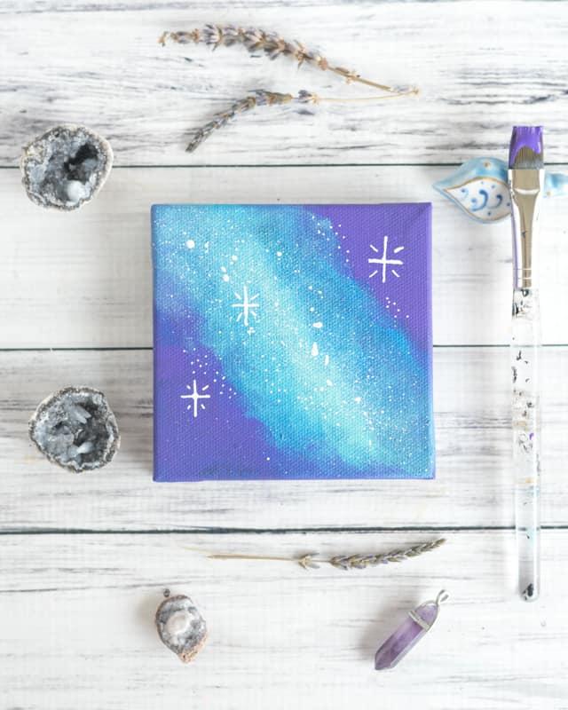 Mini galaxy art tutorial with acrylic craft paints