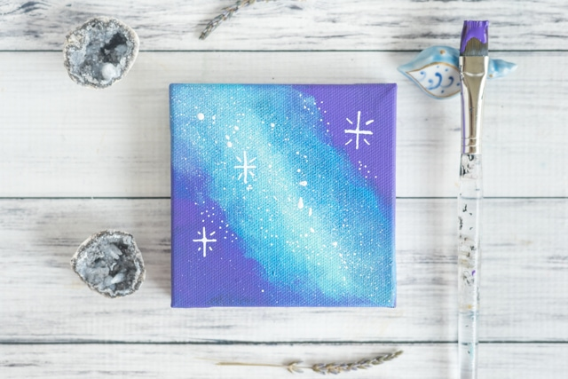 Mini galaxy art tutorial with craft paints