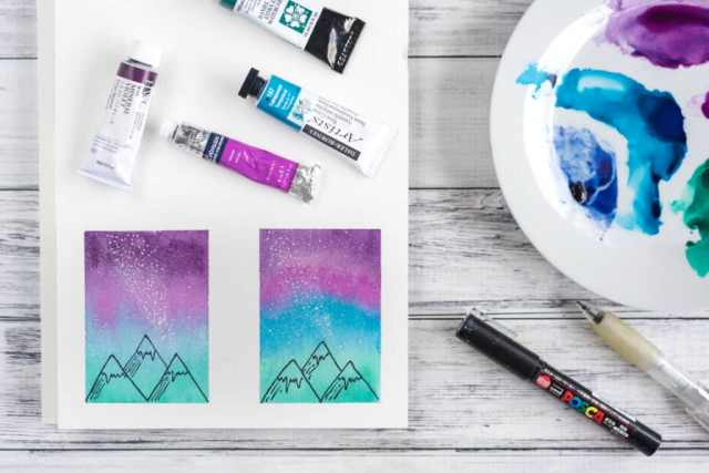 how to paint a watercolor galaxy night sky with mountains