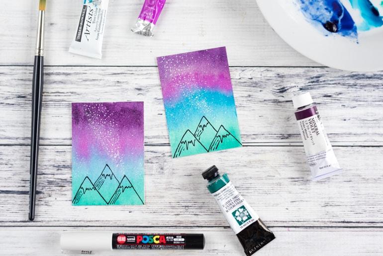 mini watercolor galaxy painting tutorial