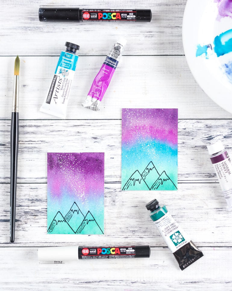 mini watercolor galaxy painting tutorial watercolor sky with