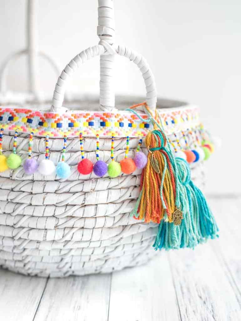 DIY boho market tote with tassels