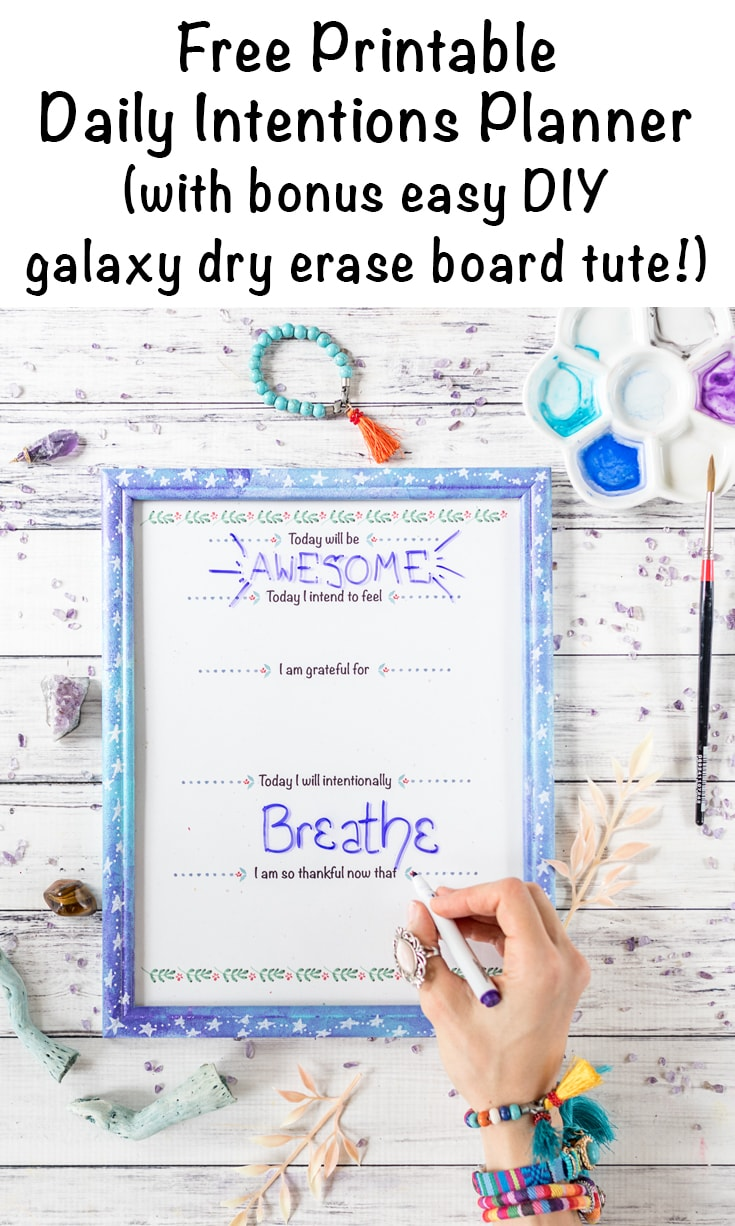 free daily intentions planner printable with text overlay