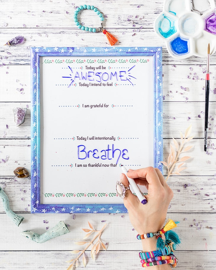 free printable daily intentions planner in an easy DIY dry erase board made from a picture frame
