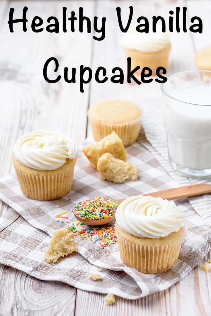 healthy vanilla cupcakes with Greek yogurt