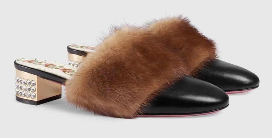 scarpe gioiello pelliccia gucci