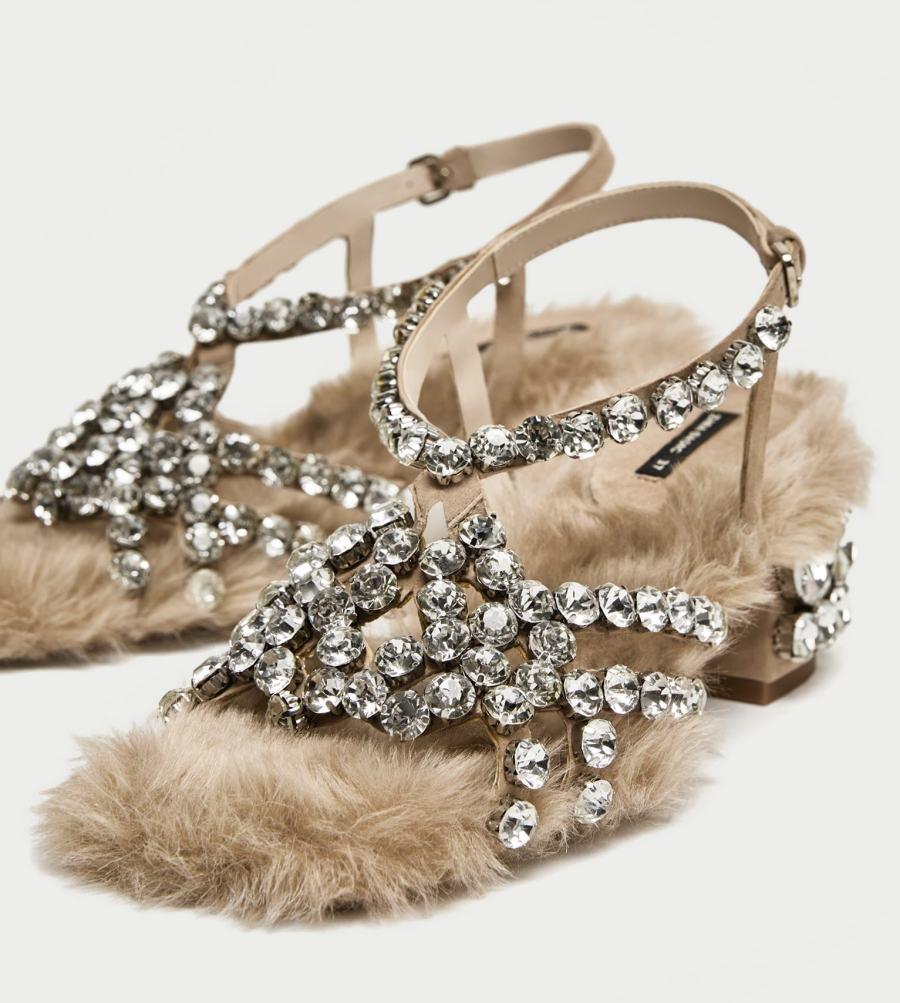 scarpe gioiello pelliccia zara