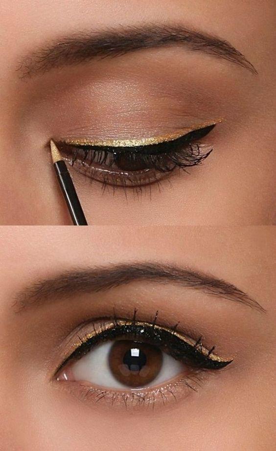 Trucco oro per le Feste eye-liner