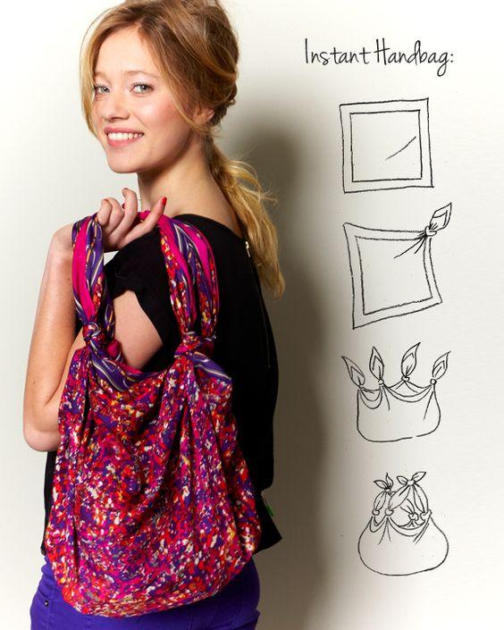 5 modi nuovi di usare un vecchio foulard borsa