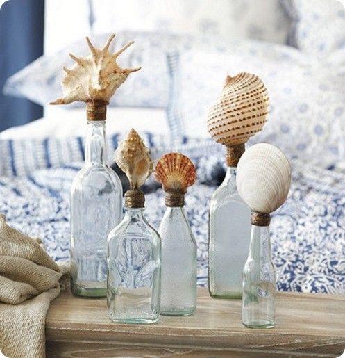 Как украсить дом летними воспоминаниями, бутылки с ракушками