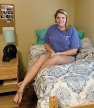 Faith Cason is ready for her freshman year in college. She enjoyed some down time in her dorm room at Southern Arkansas University.