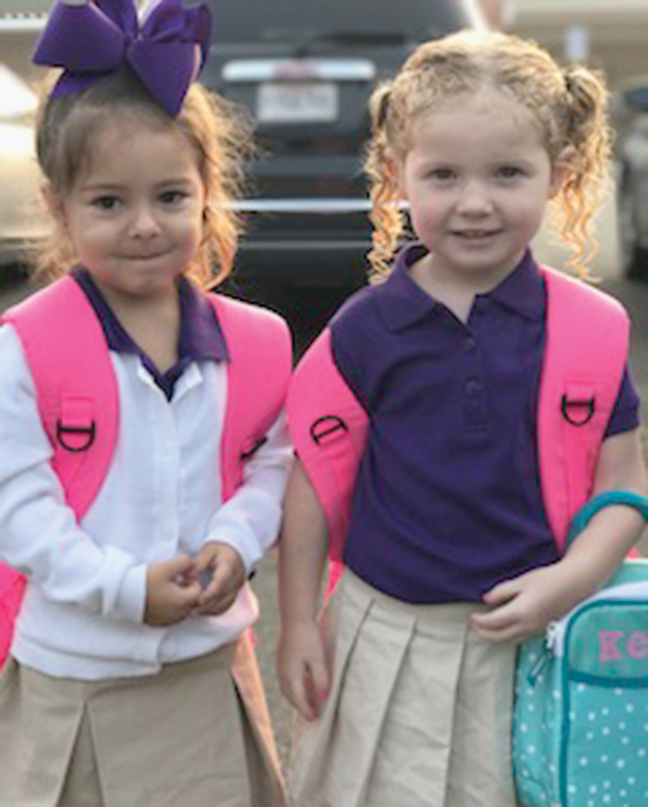 Riley Freeman, left, and Mackenzie Harper walked into their first day of Pre-K together at Fairview Alpha Elementary. Mackenzie is the daughter of Jessica and James Parker and Justin Harper. Riley is the daughter of Peyton and Chelsea Freeman.